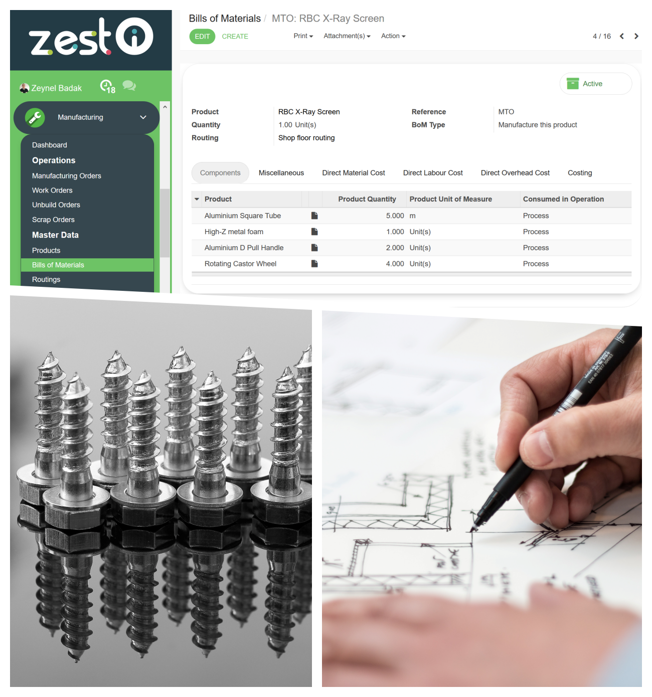 ZEST Cloud ERP Software Parts BOMs