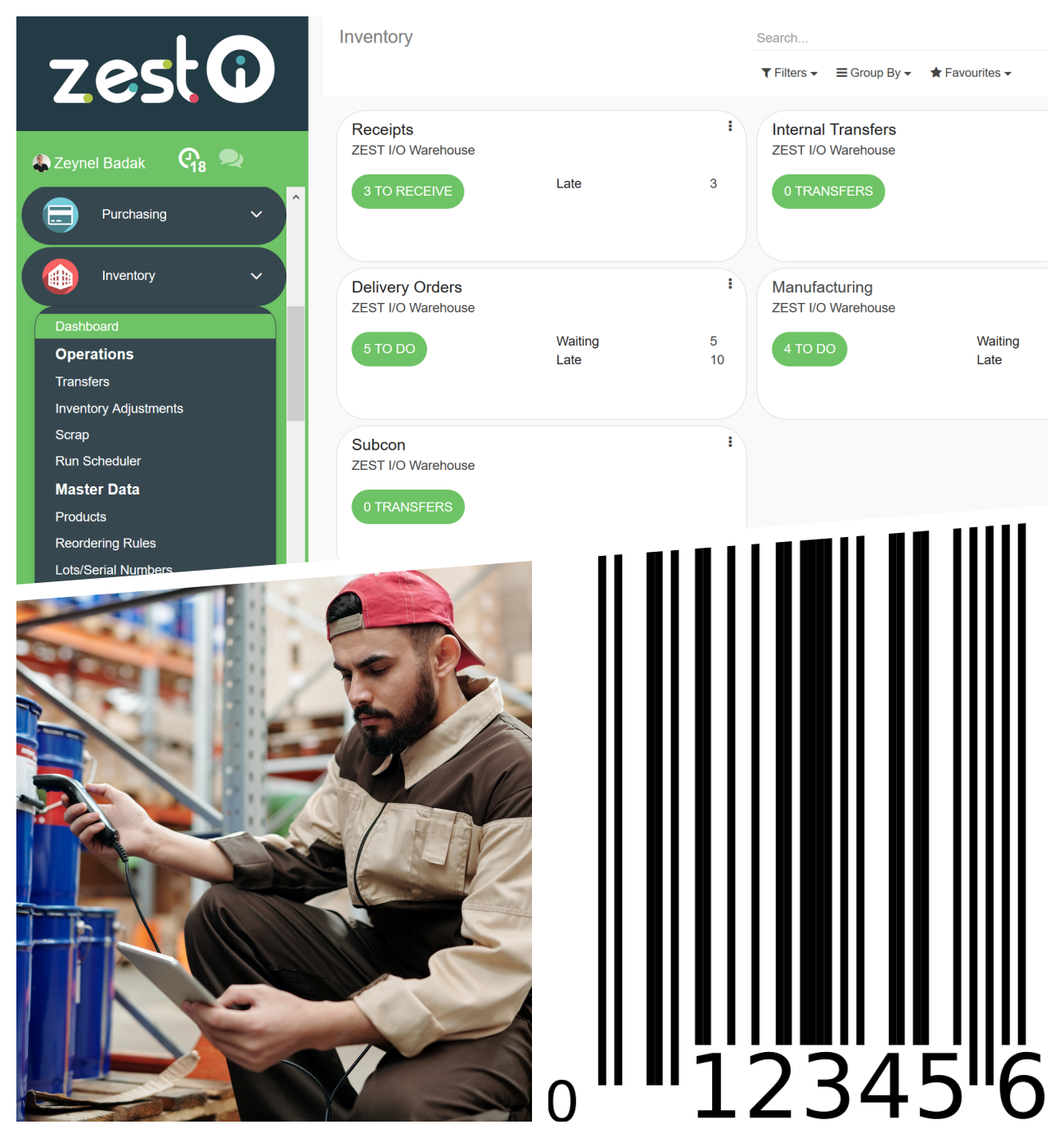 ZEST Cloud ERP Software Warehousing Receipts Deliveries